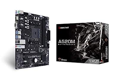 Biostar A520MH AMD AM4/A520/mATX/PCIe M.2 32 Gb/s/DDR4/USB 3.2 Gen1/Realtek RTL8111H/HDMI 4K/Gaming Motherboard