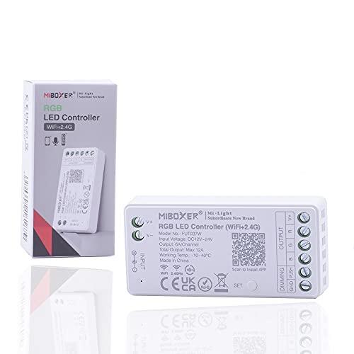 Kingled - Ricevitore per Strip Led RGB - Controller Wi-Fi + RF + PUSH - Mi Light MiBoxer Mini FUT037W - Potenza 12A Tensione DC 12-24V - Compatibile con Alexa, Google e Smartphone - Cod. 5897