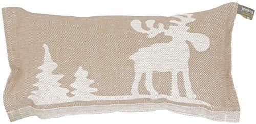 JOKIPIIN | 1 Saunakissen und Reisekissen 'ELCH', 40 x 22 cm, Leinen/Baumwolle, Made in Finland (beige/weiß)