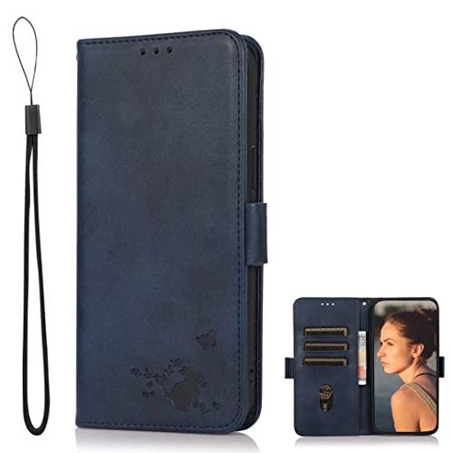 SHIEID Handyhülle für Umidigi A11 Pro Max Hülle, Umidigi A11 Pro Max Premium PU Ledertasche Schutzhülle [Geprägter Vintage] Handyhülle mit [Kartenfächern] Handyhülle für Umidigi A11 Pro Max (Blau)