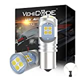 VehiCode 1156 LED Bulb White Super Bright 12V-24V 7506 P21W 1156ll 1141 1073 93 Replacement with Projector for Car Reverse Backup DRL RV Camper Dome Light Lawn Mower Tractor Headlight Bulb (2 Pack)