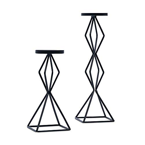 YarStore Spectacular Versatile Tall Pillar Candle Holder Set of 2 - Black