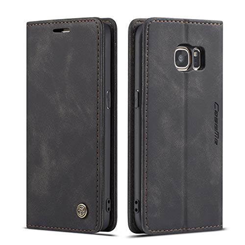 QLTYPRI Hülle für Samsung Galaxy S7, Vintage Dünne Handyhülle mit Kartenfach Geld Slot Ständer PU Ledertasche TPU Bumper Flip Schutzhülle Kompatibel mit Samsung Galaxy S7 - Schwarz