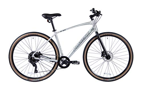 Planet X Fat Baz Hybrid Bike Adventure Cycle Road Bicycle With Disc Brakes (Polished Gloss Silver Small)