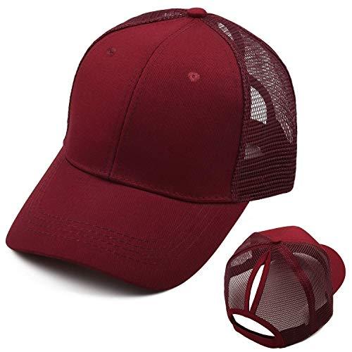Bwiv Baseball Cap Damen Mesh Pferdeschwanz Baseball Hut Atmungsaktiv Sonnenhut Sonnenschutz Mädchen Kappe Schirmmütze Einheitsgröße Kopfumfang 52-61cm Rot