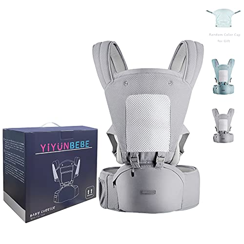 YIYUNBEBE Baby Carrier Newborn to Toddler Baby Carriers with Seat Infant Baby Holder Backpack Baby Carriers Front and Back for Carrying and Hiking(Grey with Cover)