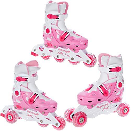 Croxer Patines 3 en 1 para niños, ajustables, 37 a 40 (22,5 a 25 cm), color rosa