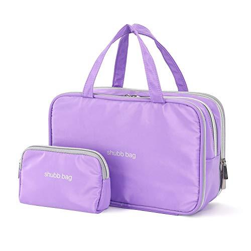 Travel Makeup Bag Toiletry Bags Large Cosmetic Cases for Women Girls Water-resistant (purple/makeup bag set)