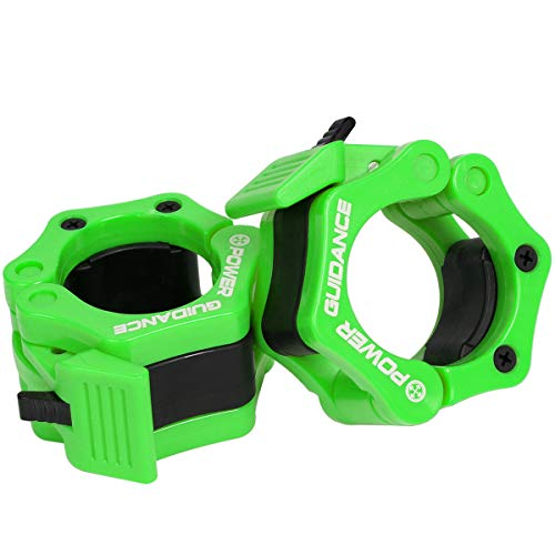 POWERGUIDANCE Hantelstangen-Stellringe für Scheibenhanteln, 1Paar, 5,1cm, mit Schnellentriegelung, für olympische Langhantel, ideal für Cross-Fitness-Training, grün