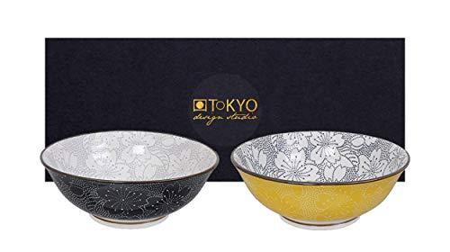 TOKYO design studio, Sakura, Schüssel Set 2x19,7cm, Japan, rund. Zwei Schalen in dekorativer Geschenkbox. Schüsseln Porzellan Set.