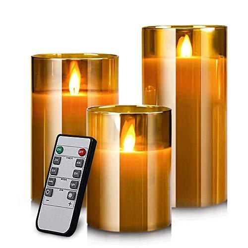 AnnTec LEDキャンドルライト ledグラス ゴールド ロウソク 本物の炎のようにゆらめく3点セット 暖色光 火を使わない ゆらゆら揺れる 安全 省エネ 専用リモコン付き 明るさ調整 電池式 LEDライトキャンドル