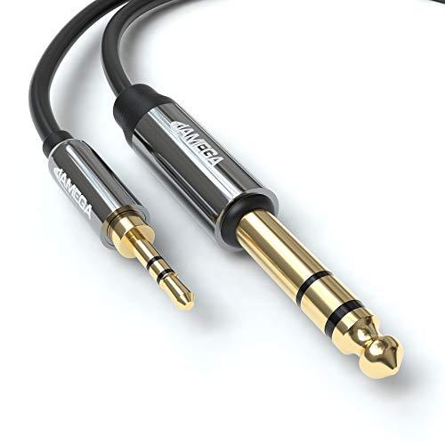 JAMEGA- 3.5mm Klinke auf 6.35mm Klinke Kabel 1m | 6,35mm Klinkenstecker auf 3,5mm Klinkenstecker Aux Adapter Stereo Audio Kabel kompatibel mit Gitarre, Mischpult, Mikrofon, Recorder, Verstärker usw.