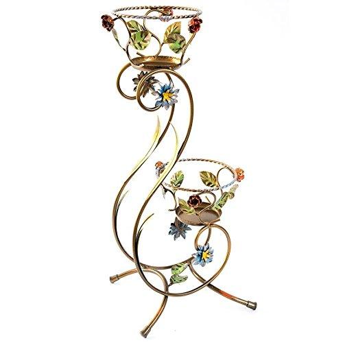 Pot haut en fer forgé avec roses et feuilles de jardin à deux places 72 cm