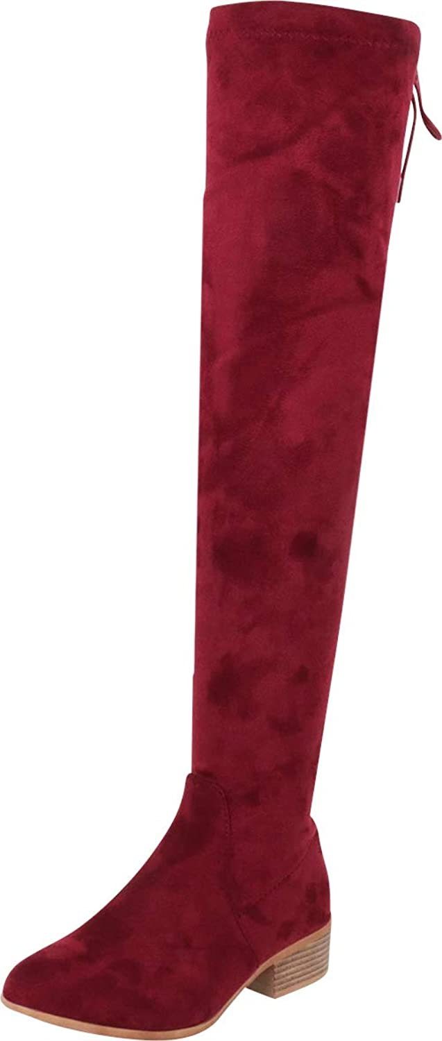 Cambridge Select Women's Thigh-High Back Corset Lace Chunky Low Heel Over The Knee Boot