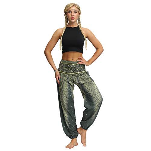 Haobing Mujer Pantalones de Yoga Impreso Cintura Alta Suelto Boho Aladin Hippie Pantalones Harem (75 Verde, Talla única)