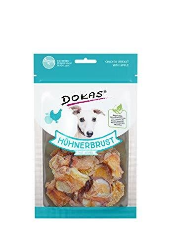 DOKAS Getreidefreier Premium Snack mit Hühnerbrust für Hunde, Apfel, 1 x 70g
