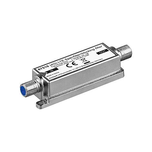 Goobay 67150 LTE (4G) Sperrfilter für besseren DVB-T Empfang, F-Buchse silber