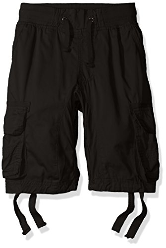 Southpole Big Boys' Jogger Shorts with Cargo Pockets in Basic Solid Colors, Black (New), Medium