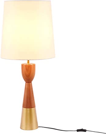 テーブルランプ ノルディックシンプルなモダンソリッドウッドテーブルランプクリエイティブウォームベッドルームベッドサイドランプ研究布ファブリックゴールドランプLED読書ランプ A+