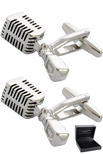 COLLAR AND CUFFS LONDON - HOCHWERTIGE Manschettenknöpfe mit Geschenk Box - Retro-Mikrofon - Stilvolle Messing - Silber Farbe - Musik Sänger Singen Musiker DJ
