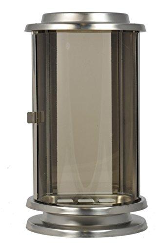 Paul Jansen Grablaterne halbrund aus Edelstahlblech Höhe 23 cm, silber