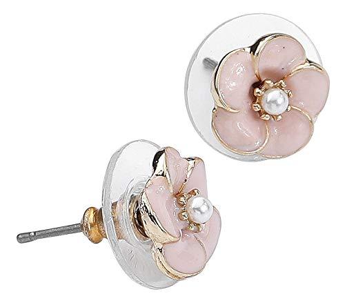 Lovett & Co. Small Rose Earrings Mujer Set de Pendientes Rosa, Metal,