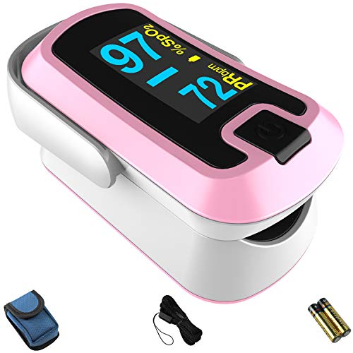 mibest OLED Finger Pulse Oximeter, O2 Meter, Dual Color White Pink