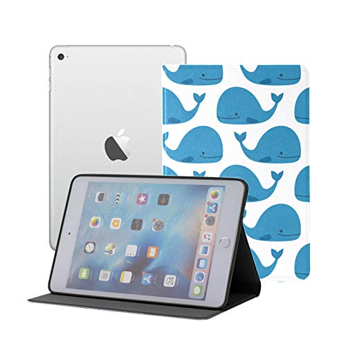 Ipad Mini Case Blue Cute Whales Pattern On White Case for Ipad Mini 3/2/1,Ultra Slim Lightweight Smart Case Cover Stand with Flexible Soft TPU Back Cover[auto Sleep/Wake]