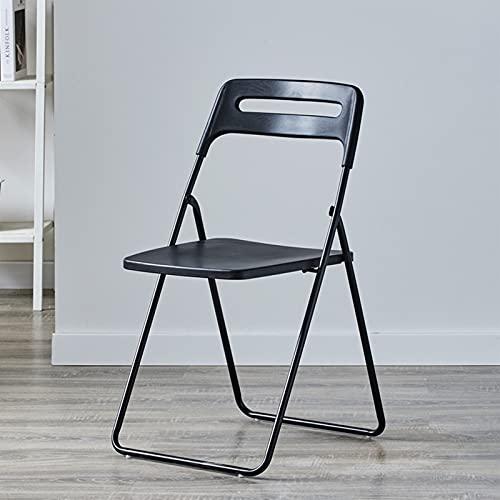 Folding chair Silla Plegable, Taburete De Metal, Silla para Terraza De Jardín, Silla De Comedor, Adecuada para Balcón, Restaurante (Color : Black)