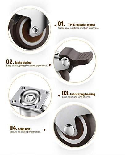 4 x Ruedas Giratorias de Goma Ruedas de Freno Industrial Con Placa de Montaje 50mm 140KG Ruedas para Muebles GBL Rueda Pivotantes