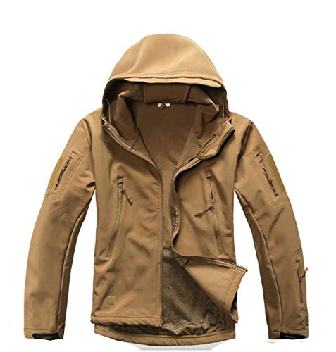 Lurker Shark Skin Softshell V5 Jacket Men Waterproof Coat Camo Clothing,Khaki,XXL