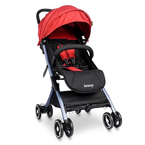 Besrey Silla Paseo Bebe Ligera Compacta Cochecito Viaje Avión 4,9 kg Carritos de Bebe Plegable 6-36 Meses,Rojo …