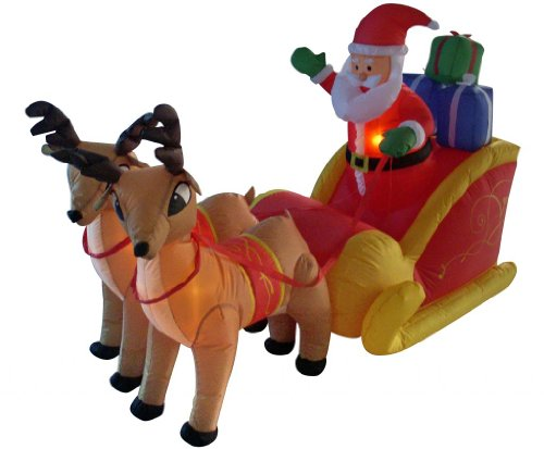 6 Foot Long Christmas Inflatable Santa on Sleigh with Reindeer Yard Decoration Lights Decor Outdoor Indoor Holiday Decorations, Blow up Lighted Yard Decor, Lawn Inflatables Home Family Outside