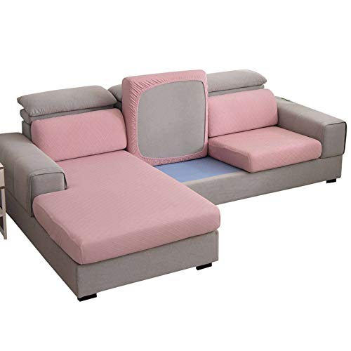 SINKITA 1 2 3 4 Seater Stretch Couch Sitzbezug Sofabezug Sofaüberwürfe Zum Ecksofa L-Form Elastische Möbelbezug Sofa Schutz Zum Sessel Kissenbezüge-4 Sitzer-Rosa