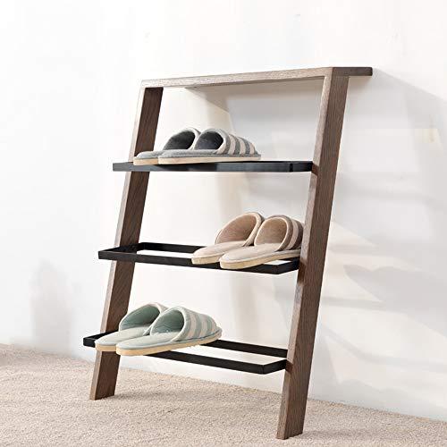 QFFL Porte-chaussures en bois massif simple ménage multi-couche en bois simple moderne chêne rouge Assemblée économie petit porte-chaussures Range-chaussures