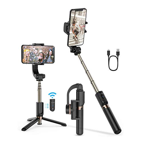 Selfie Stick Tripod, BlitzWolf Mini Extendable Selfie Stick Bluetooth with Anti-Shaking Stabilizer and Automatic Balance, One-Axis Gimbal for iPhone 11 Pro/XS Max/XS/XR/X/8/7/6, Galaxy S10/S9, Android