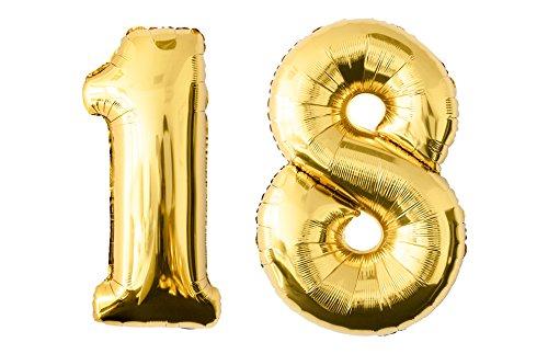 Globo de lámina de número en el color dorado | Número enorme 100 cm | globo rellenable con helio o aero fiesta fiesta de cumpleaños decoración (18-dorado)