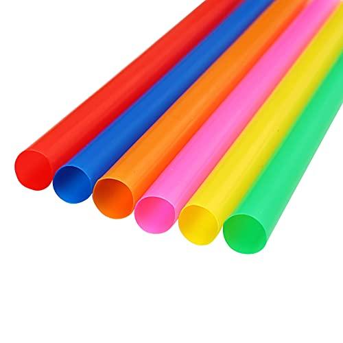 RTUQ 100 pajitas de colores de 11 x 210 mm, pajitas planas, pajitas de té con burbujas para fiestas de cumpleaños, bodas, fiestas de vacaciones (varios colores)