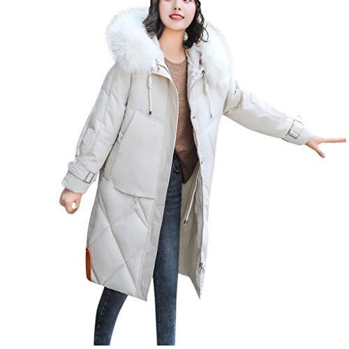 Longra Damen Winterjacke warme Parkas Mäntel einfarbig Lange Jacken Mit Kapuze Mode Kapuzenjacke Wintermantel Softshelljacken Windbreaker