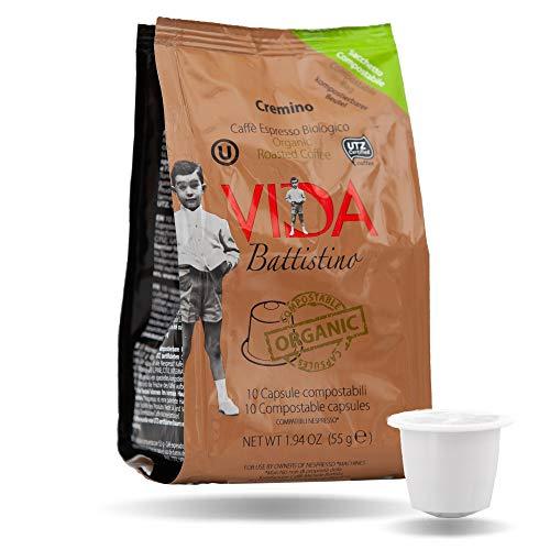 VIDA BATTISTINO CREMINO - capsule compatibili Nespresso* COMPOSTABILI, caffè BIOLOGICO e UTZ (VIDA, 100) (100)