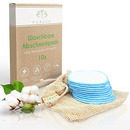 DERMATEST: SEHR GUT - PURAVA® [10x] Abschminkpads waschbar - 100% Biologische Baumwolle - Zero Waste Alternative - Nachhaltige Reinigungspads wiederverwendbar -Idealer Make Up Entferner