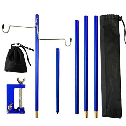 Ansimple ランタンスタンド ランタンハンガー ランタンポール 3段階調節 アルミ製 コンパクト 軽量 収納袋付き アウトドア キャンプ用品 クランプ式 ペグ式 テーブル・地面両用 (藍)