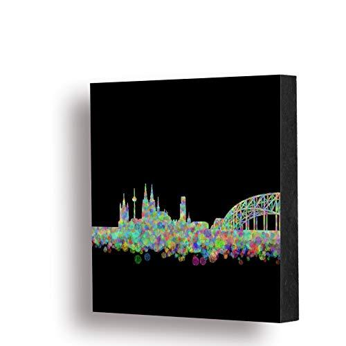 Köln Bild - Skyline Konfetti schwarz, 14x14cm, MDF, Geschenk, Deko, Dom, Kölngeschenk, Kunst, Cologne, Holz