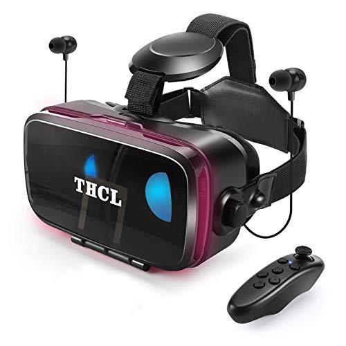 VRゴーグルvrゴーグルスマホ用 VR VRヘッドセット通話に応答する機能付きアンチブルーレンズ瞳孔 焦点距離調節 1080PHD画質 3D ゲーム映画動画4.7~6.5インチの iPhone Android などのスマホ対応 Bluetoothリモコン0-800近視 0-400遠視適用120°視野角
