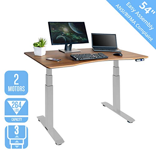 Seville Classics OFFK65876 AIRLIFT Pro S3 54' Solid-Top Commercial-Grade Electric Adjustable Standing Desk (51.4' Max Height) Table, Gray/Walnut