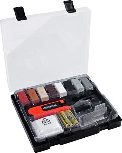 Werkzeyt Fliesen-Reparatur-Set 14-teilig - 8 unterschiedliche Farbtöne - Inkl. Wachsschmelzer, Hobel & Schleifschwamm - Geeignet für glatte Oberflächen aller Art / Reparatur-Kit für Stein / B27692
