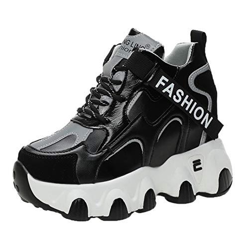 Zapatillas de cuña Ocultas para Mujer Zapatillas Deportivas Informales con Punta Redonda Impermeables con Cordones para Mujer Zapatos Deportivos de Plataforma Resistente al Desgaste cómodo para Mujer