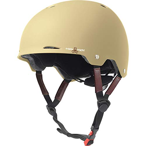 Triple Eight Gotham Dual Certified Skateboard and Bike Helmet, Cream Matte, Large/X-Large