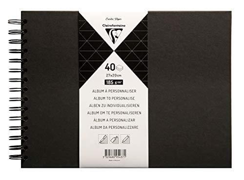 Clairefontaine 95437C - Un album à personnaliser de 40 feuilles de papier noir 185g au format 27x20cm (Couverture noire)
