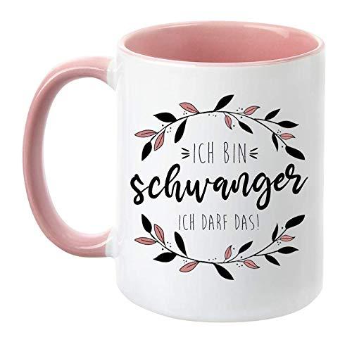 TassenTicker - 'Ich bin schwanger ich darf das - beidseitig Bedruckt - Tasse - Geschenkidee - Geschenk - werdende Mama- Schwangere Frau - Schwangerschaft - Kaffeetasse (Rosa)